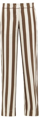 F.R.S For Restless Sleepers Polibote Striped Silk Wide-leg Trousers - Brown Multi