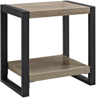 Hewson 24In Industrial Wood Metal Side Table