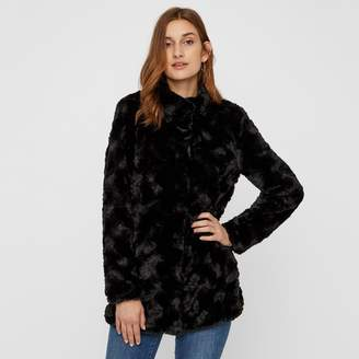 Vero Moda Faux Fur Mid-Length Coat with High Neck