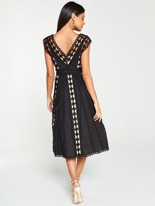 Very Lace Trim Prom Dress - Black