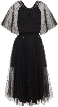 Maria Lucia Hohan Shani Embellished Belted Tulle Midi Dress