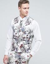 Asos Wedding Super Skinny Suit Waistcoat In Cream Floral Print