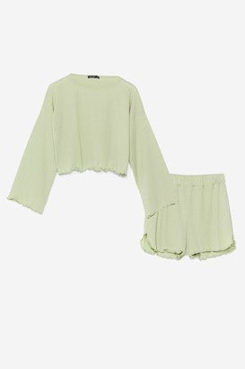 Nasty Gal Womens Rib's Been a Long Day Ruffle Pyjama Shorts Set - Black - 6, Black