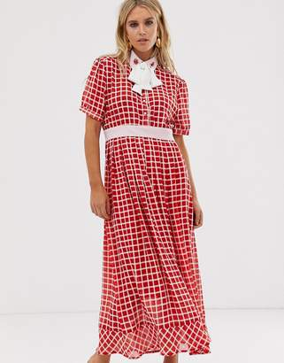 Sister Jane midaxi dress with ladybird embellished pussybow in grid check-Red