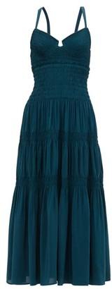 Proenza Schouler Crossover-back Shirred Crepe Midi Dress - Dark Green