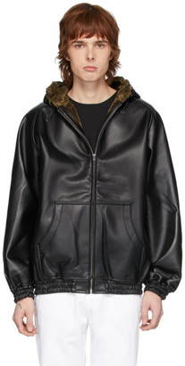 Random Identities Black Faux-Leather Zip Hoodie