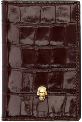 Alexander McQueen Burgundy Croc Skull Bifold Card Holder