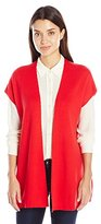 Sag Harbor Women's Extended Slv Solid Sweater Vest with Side Slits