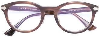 Gucci Debossed Detailing Round-Frame Glasses