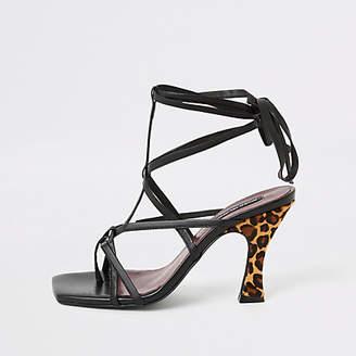 River Island Black leopard print strappy sandal