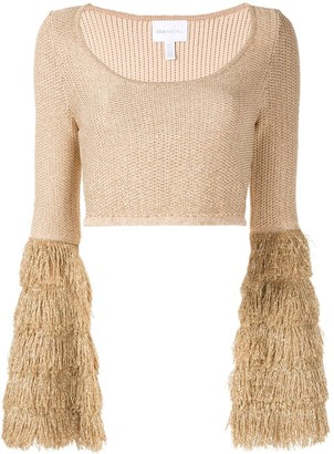 Alice McCall tiered fringe crop top