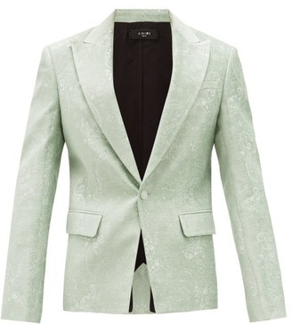 Amiri Single-breasted Chenille-brocade Suit Jacket - Mens - Light Green