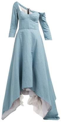 Natasha Zinko Off-the-shoulder Cotton Dress - Womens - Turquoise