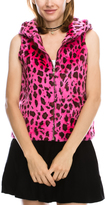 Fuchsia & Brown Leopard Hooded Zip-Up Vest