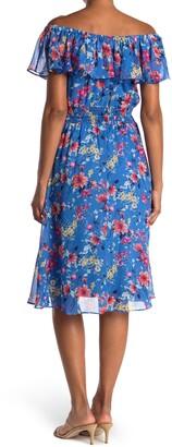 Sandra Darren Floral Off-the-Shoulder Ruffled Chiffon Midi Dress