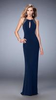La Femme 22264 Embellished Halter Jersey Dress