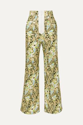 Miu Miu Printed High-rise Wide-leg Jeans - Green