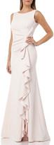 Carmen Marc Valvo Bateau-Neck Sleeveless Gown w/ Side-Ruching & Draped Ruffle Detail