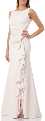 Carmen Marc Valvo Bateau-Neck Sleeveless Gown w/ Side-Ruching & Draped Ruffle Detail