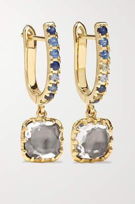 Larkspur & Hawk Caprice Elements 14-karat Gold, Quartz And Sapphire Earrings