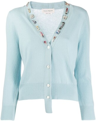 Alexander McQueen Jewelled Neck Cardigan