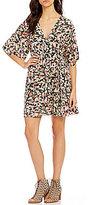 Billabong Dolly Floral Print Flutter-Sleeve Surplice V-Neck Wrap Shift Dress