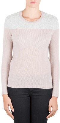 Rebecca Taylor Colorblock Cashmere Knit Fuzzy Yoke Crew Neck Sweater XS