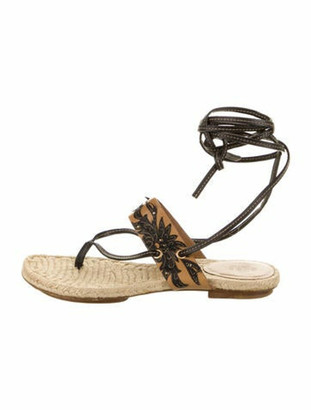 Gucci Leather Animal Print Gladiator Sandals Brown