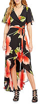 Gianni Bini Rosanna Floral Flutter Sleeve Wrap Dress