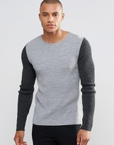 Asos Muscle Fit Crew Neck Jumper With Contrast Sleeves