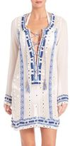 Pia Pauro Lace-Up Embroidered Tunic