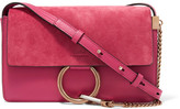 Chloé Faye Small Suede And Leather Shoulder Bag - Pink