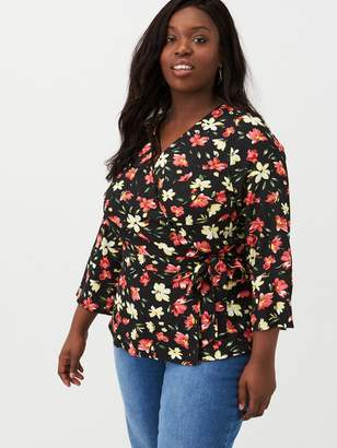 V By Very Curve Tie Wrap Blouse - Floral Print