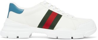 Gucci Nathane Web-stripe Leather Trainers - White