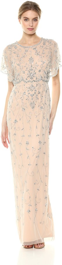 Adrianna Papell Women's Beaded Long Dress with Scalloped Edging