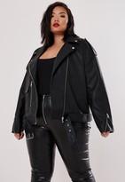 Missguided Plus Size Black Boyfriend Biker Faux Leather Jacket