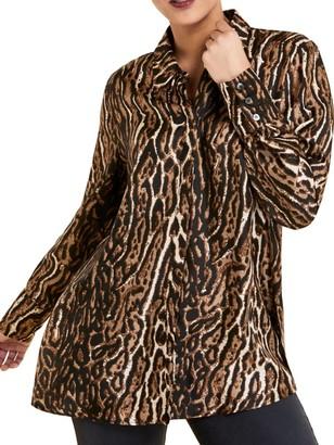 Marina Rinaldi, Plus Size Leopard Print Blouse