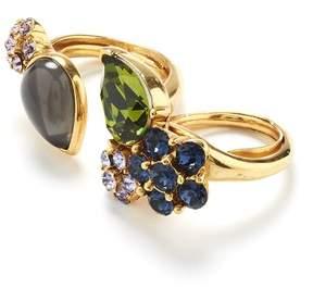 Oscar de la Renta Crystal And Cabochon Ring
