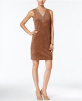 Jessica Howard Embellished Faux-Suede Sheath Dress