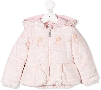 Lapin House hooded ruffle trim padded jacket