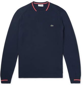 Lacoste Stripe-Trimmed Cotton Sweater