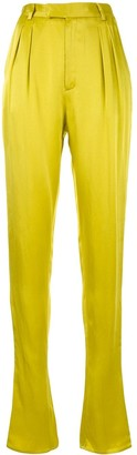 Sally LaPointe Satin Elongated Pleated Trousers