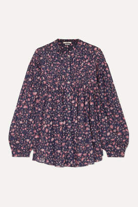 Etoile Isabel Marant Laila Pintucked Floral-print Cotton Blouse - Purple