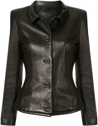 Versace Pre-Owned Leather Buttoned Jacket