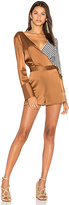 Diane von Furstenberg Asymmetrical Romper in Metallic Copper