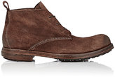 Elia Maurizi Men's Reverse-Leather Lace-Up Boots-DARK BROWN, BROWN