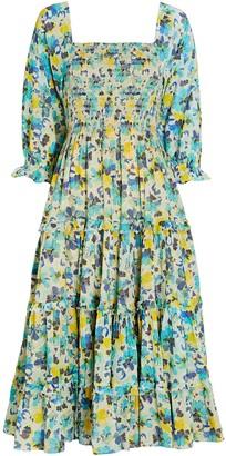 LoveShackFancy Capri Floral Cotton Midi Dress