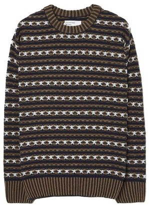 Universal Works Batton Stripe Crew In Navy Jacquard - S