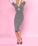 Bettie Page Black Dot Bow V-Neck Dress