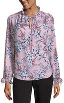 Liz Claiborne Long Sleeve TieNeck Georgette Blouse
